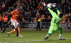 Christoffer Mafoumbi saves a shot from Alex Iwobi of Arsenal in the FA Cup round tie at Bloomfield Road Blackpool, Fa Cup, Arsenal, Football, Tie, Shit Happens, Soccer, Futbol, Cravat Tie