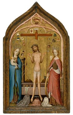 Master of St. Veronica, Man of Sorrows with Mary and St. Catherine, Colonia, 1400-1420