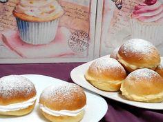 """""""Al Calor de los Fogones""""...: BAMBAS O CRISTINAS DE CREMA Y MERENGUE Hamburger, Bread, Recipes, Html, Food, Cake Recipes, Easy Recipes, Breads, Afternoon Snacks"""