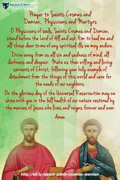 Prayer to Saints Cosmas and Damian, Physicians and Martyrs