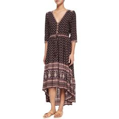 Spell Gypsiana Multipattern Maxi Dress ($288) ❤ liked on Polyvore featuring dresses, purp, high low maxi dress, maxi dress, red a line dress, 3/4 sleeve dress and 3/4 sleeve maxi dress