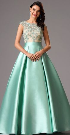 Green Embroidery Ball Gown Formal Dress