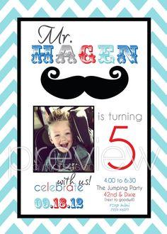 Chevron Mustache Birthday Invitation by Aimpression - I am SO doing this when I have a boy!!