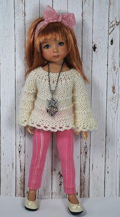 Effner • růžové leginy a pletený svetřík