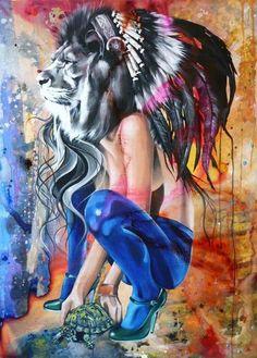 The Indian King and the Green Scarpino Sandra Chevrier Sandra Chevrier, Psy Art, Alternative Art, Stencil Art, Street Art Graffiti, Psychedelic Art, Street Artists, Public Art, Urban Art