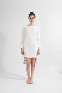 Shop Young & Able Emerging Designer: http://www.shopyoungandable.com KUNG KATHERINE WHITE LINEN DRESS WITH POCKETS $494.00