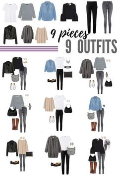 9 pieces x 9 outfits. Just a sampling of the hundreds of outfits you can make from the Minimalist Wardrobe Challenge capsule wardrobe!