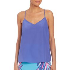 Lilly Pulitzer Dusk Top ($105) ❤ liked on Polyvore featuring tops, apparel & accessories, iris blue, blue silk top, v neck sleeveless top, cami top, silk cami tops and silk top
