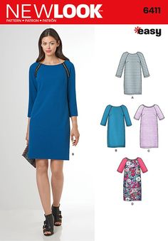 Misses Easy to Sew Shift Dress New Look Sewing Pattern 6411. Size 10-22.