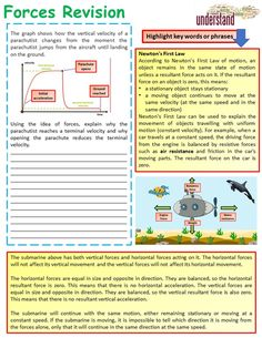 This resource is a GCSE Physics, forces revision workbook that will help enable students to revise this topic and has been written to cover all of the key . Gcse Physics Revision, Revision Tips, Physics Notes, Year 7 Science, High School Science, Gcse Chemistry, Gcse Science, School Study Tips, Aqa