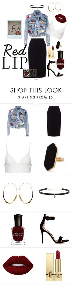"""""""Red Lip"""" by tusix ❤ liked on Polyvore featuring Alice + Olivia, Roland Mouret, T By Alexander Wang, Jaeger, Carbon & Hyde, Deborah Lippmann, Gianvito Rossi, Lime Crime and Yves Saint Laurent"""