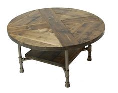 Round Industrial Coffee Table w Shelf by sumsouthernsunshine
