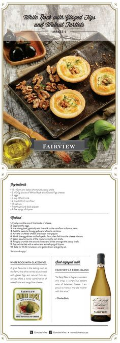 Goat Cheese & Glazed Figs and Walnut Tartlets with Fairview La Beryl Blanc