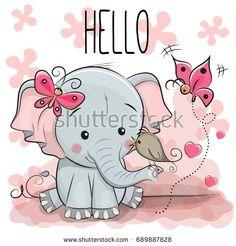 Greeting card cute cartoon Elephant with bird: compre este vector en Shutterstock y encuentre otras imágenes.