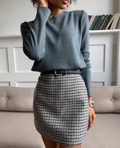Mittyo Classic Blue Top Plaid Skirt Two Piece Dress Source by angelicameskhia casual outfits Mode Outfits, Fall Outfits, Travel Outfits, Edgy Outfits, Summer Outfits, October Outfits, Stylish Work Outfits, Skirt Outfits For Winter, Classy Chic Outfits