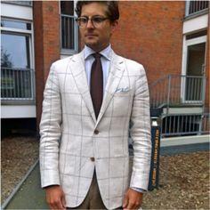 http://chicerman.com  kleidsam:  You gotta check that.  Cream windowpane linen by @suitsupply #IgnatiusJoseph Shirt and #YvesSaintLaurent brown knit tie.  #wiwt #ootd #style #fashion #instastyle #instafashion #kleidsam #menswear #mensweardaily #SUITSUPPLY  #MENSUIT #TAILORSUIT