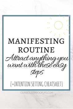 In need for a good manifesting routine to attract ALL of your desires? You're in luck! (plus, there is a FREE CHEATSHEET inside on how to use the power of the NEW MOON for manifesting! ourbulletprooflife.com Law of Attraction I Manifesting I Personal Development I Inspirational Thoughts I Inspiration I How to be happy I Self Love I Self Care I Motivation I How to Manifest I the Universe I Law of Vibration I Positive Vibes I Positivity I Anxiety Relief I New Moon I Mindful Living I…