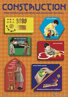 EYLF Practice - Learning through Play. Construction poster from Play to Learn Series. Eylf Learning Outcomes, Learning Stories, Play Based Learning, Learning Through Play, Learning Centers, Early Learning, Fun Learning, Early Education, Early Childhood Education