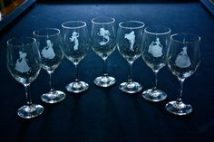 Princess Etched Wine Glasses by ThePolarBearNook on Etsy, $12.00- These are needed.