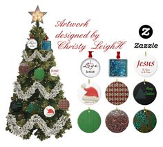 """""""Christmas Ornaments with Christy Leigh"""" by sandyspider ❤ liked on Polyvore featuring interior, interiors, interior design, home, home decor, interior decorating, Kurt Adler, Christmas, BloggerStyle and zazzle"""