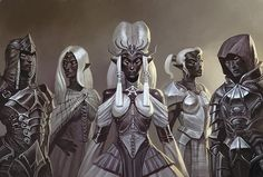 House Lhalune Matriarch Nedyya with her neice, Amari, son, Kereth, and two grand-daughters, Rilstin and Alyna.