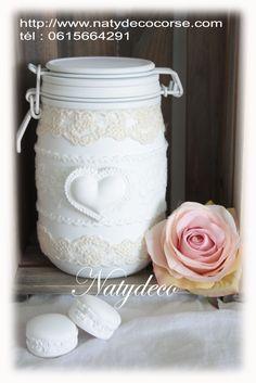 Retrouvez ma rubrique bocaux dentelle  en vente mon site http://www.natydecocorse.com
