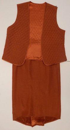 Women's Spring Orange 2 Piece Suit Quilted Vest Long Skirt Modest Size Medium #DesignTodays #SkirtSuit