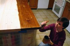 Staining and waterproofing wood countertops