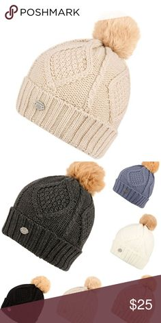 """Final Sale Light Khaki Chunky Sherpa Lined Beanie Light Khaki Chunky Sherpa Lined Beanie. Features- Chunky cable knit, sherpa fleece lining inside, faux fur pom pom, foldover style. One size fits most size (approx. 9""""(W) x 11""""(H) including pom while laying flat). Accessories Hats"""