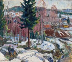 To gutter i landskap med gårdsbruk (1922),Lars Jorde,