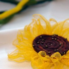 Felted and organza flower brooch-Sunflower dream , bright yellow and brown felt flower on Etsy, £9.26