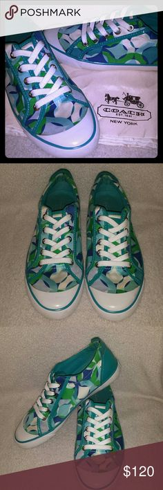 🎉WEEKEND SALE🎉Cute Coach Sneakers sz 8.5 Signature C's Turquoise, and white, Fresh and Clean, Very Gently and barely used. Clean White soles and canvas in tact, gentle use. WAS $120 Coach Shoes Sneakers