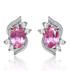 Natural Pink Tourmaline & White Topaz 925 Sterling Silver Stud Earrings