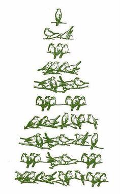 Christmas Tree - Stylized Birds in Green