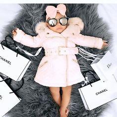 pink fluffy down baby coat Stylish Kids Fashion, Little Kid Fashion, Baby Girl Fashion, Toddler Fashion, Baby Outfits, Little Girl Outfits, Toddler Outfits, Kids Outfits, Cute Baby Girl
