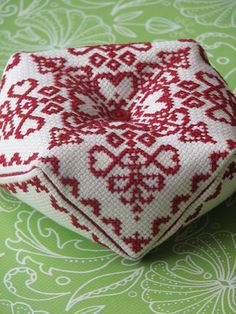 Cross Stitch Biscornu Pattern Ruby Charm by stageappealcrafts