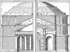 Andrea Palladio, Elevation and section through the Pantheon's portico, Rome, 1570