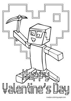 Free Printable Minecraft Valentines Day Coloring Pages For Kids