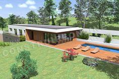Plan de maison contemporaine terrain pente CARAVELLE vue terrasse Surface Habitable, Contemporary House Plans, House On A Hill, Architect Design, Future House, Bungalow, Tiny House, Construction, Exterior