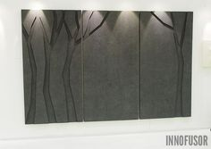 Silent Trees acoustic wall panel collection displayed at 2 x 3 m size. Lighting highlights the beatutiful surface of the material. See more at www.innofusor.com #Scandinavian #Design #acoustics #Innofusor