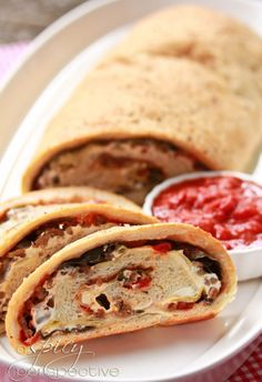 Classic Stromboli with Artichokes, Olives and Red Pepper Marinara