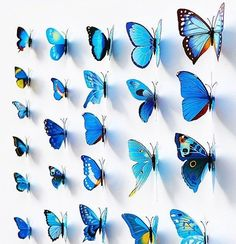 12pcs BLUE DIY 3D Butterfly Wall Sticker Decal Home Decor Room Decorations Q