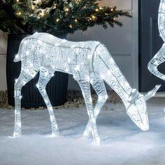 Déco de Noël extérieur : 20 idées lumineuses pour le jardin et la façade - Côté Maison Unique Christmas Decorations, White Glitter, White Paints, Light Up, Reindeer, Facade, Bright Ideas, Kawaii, Transparent