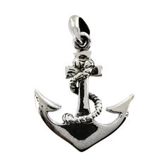 Sterling Silver Anchor Rope Twist Pendant - Fire & Ice