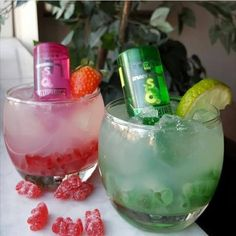THAT'S MY BESTIE COCKTAILS  Add gummies first then ice in a rocks glass.  6 oz. (180 ml) Lemonade 1/2 oz. (15 ml) Fresh lemon juice 1/2 oz. (15 ml) Triple sec strain over ice and gummies.  Ice Shake  Strawberry and lime garnish.  Finish with mini smirnoff sour apple and sour watermelon vodka.