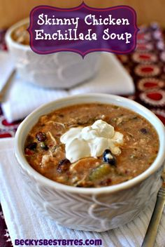"The weather has been crazy cold for the majority of the country!  Time to warm up with a B-I-G bowl of goodness! This Skinny Slow Cooker Chicken Enchilada Soup has all the flavor of that comfort food favorite but none of the guilt! Thanks to a ""secret"" ingredient, you will still get a nice creamy feel that propels you back to the kitchen for a second helping! Don't feel guilty about it!"