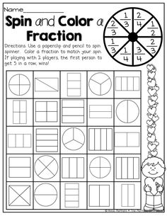 Fun math fractions worksheet with art. Spin and Color a Fraction! What a fun way to learn and practice fractions! Maths Guidés, Teaching Fractions, Fractions Worksheets, Math Fractions, Math Classroom, Fun Math, Teaching Math, Equivalent Fractions, Decimal Multiplication