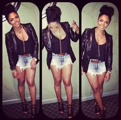 Black blazer/shorts/heels