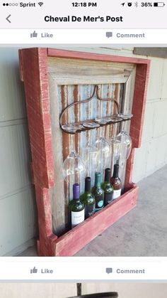 Rustic wine rack from pallet wood, barn tin, fence pickets and rusty rake head. Pallet Crafts, Diy Pallet Projects, Wood Projects, Pallet Wine Rack Diy, Rustic Wine Racks, Barn Tin, Barn Wood, Wood Pallets, Pallet Wood