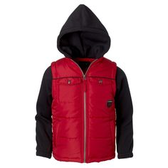 iXtreme Big Boys Puffer Vest with Fleece Hood & Sleeves and Patch Pockets. COOL COMBO: This jacket features a puffer vest combined fleece sleeves and hood, offering warmth, comfort and flexibility. FALL FAVORITE: This is the ideal outerwear for fall, offering the perfect amount of warmth and coverage for when the temperatures start to drop and a chill hits the air. COMPLETE COMFORT: Pongee polyester vest keeps warmth in, while polar fleece hood and sleeves allow for flexibility and the...